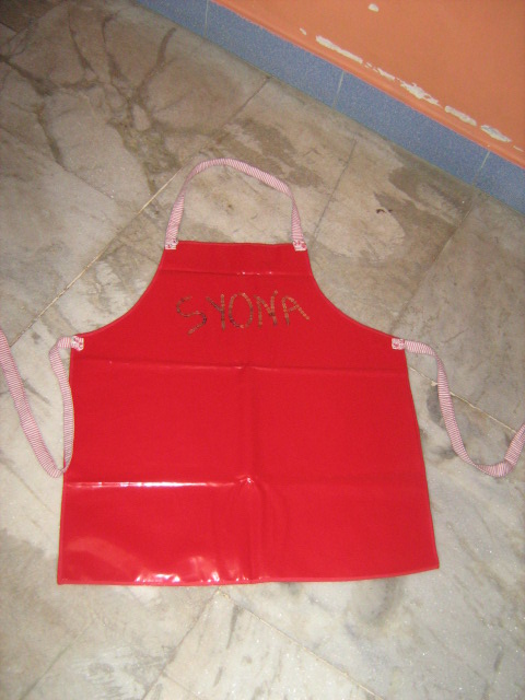 vinly apron with sequin name